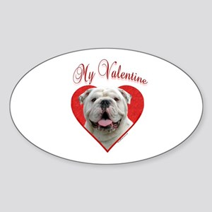 Bulldog Valentine Oval Sticker