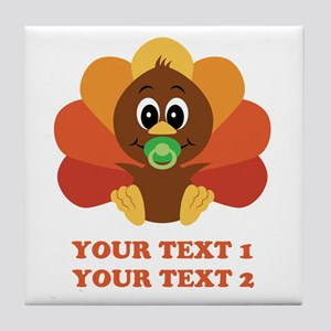 Personalize Baby Turkey Tile Coaster