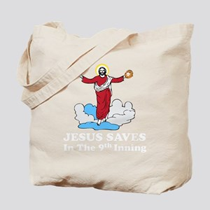 Jesus saves white Tote Bag