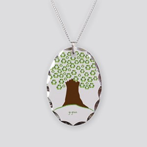 Tree Green White Necklace Oval Charm