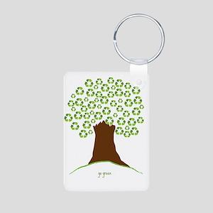 Tree Green White Aluminum Photo Keychain