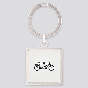 Tandem Bicycle Square Keychain