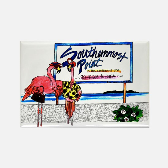 Southernmost Flamingo Rectangle Magnet