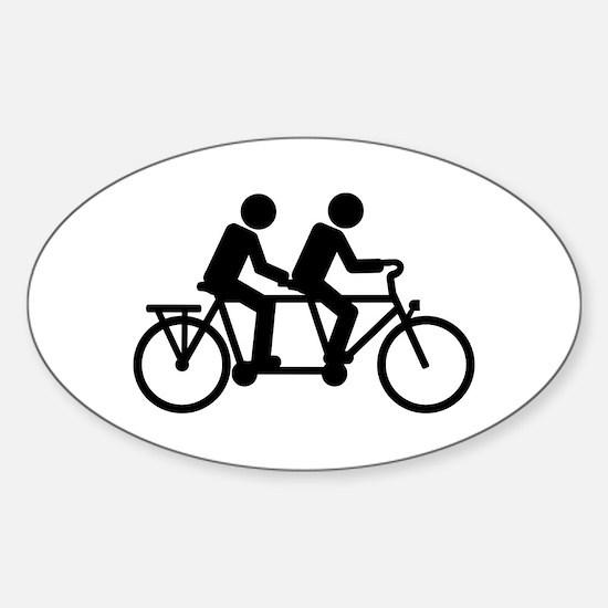 Tandem Bicycle bike Sticker (Oval)