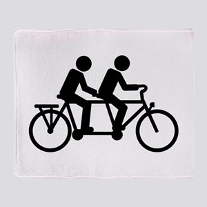 Tandem Bicycle bike Throw Blanket