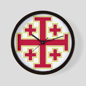 Cross Potent - Jerusalem - Red-2 Wall Clock