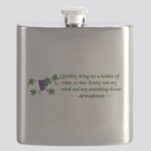 Aristophanes Wine Quote Flask