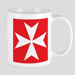 White Maltese Cross Mugs