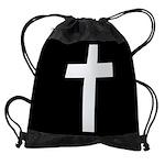 White Cross Drawstring Bag
