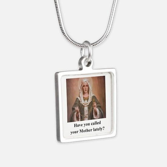 2-callmomshirt Silver Square Necklace