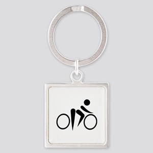 Bicycle Cycling Square Keychain