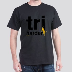 Tri Harder Flying Three Legged Dog Wh Dark T-Shirt