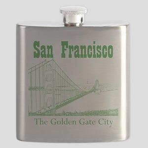 GoldenGateBridge_10x10_apparel_GreenOutline Flask