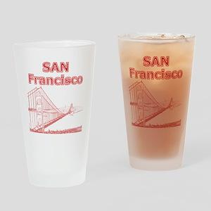 GoldenGateBridge_10x10_apparel_RedO Drinking Glass
