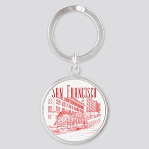 CableCar_10x10_apparel_RedOutline Round Keychain