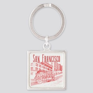 CableCar_10x10_apparel_RedOutline Square Keychain