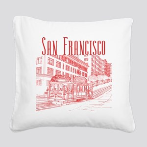 CableCar_10x10_apparel_RedOut Square Canvas Pillow