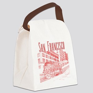 CableCar_10x10_apparel_RedOutline Canvas Lunch Bag