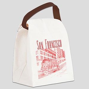 CableCar_10x10_apparel_RedOutline Canvas Lunch Bag