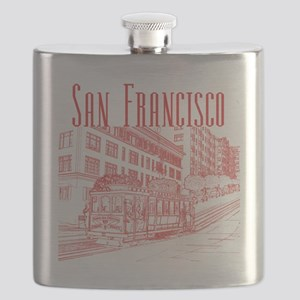 CableCar_10x10_apparel_RedOutline Flask