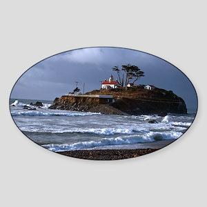 (2) battery point lighthouse & gull Sticker (Oval)