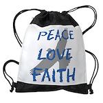 Peace Love Faith Drawstring Bag