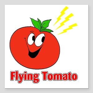 "flying tomato Square Car Magnet 3"" x 3"""
