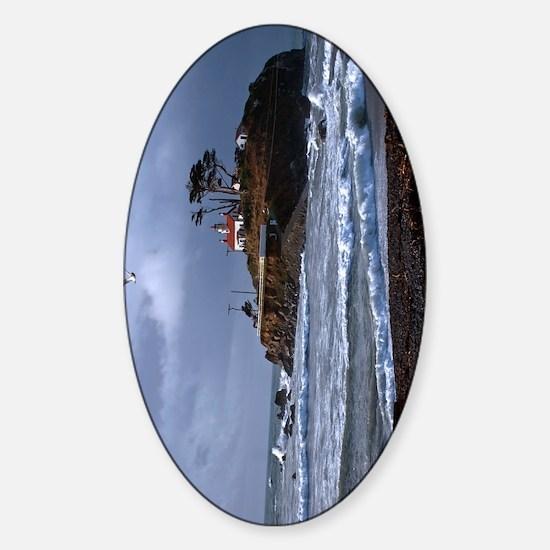 (9) battery point lighthouse & gull Sticker (Oval)