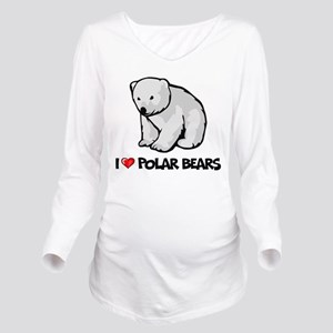 I Love Polar Bears Long Sleeve Maternity T-Shirt