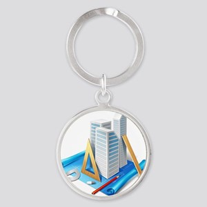 Architecture and Drawings Round Keychain