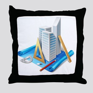 Architecture and Drawings Throw Pillow