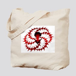 Red Crop Circle with Alien Face Tote Bag