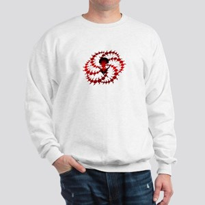 Red Crop Circle with Alien Face Sweatshirt