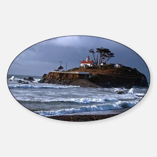 (12) battery point lighthouse & gul Sticker (Oval)