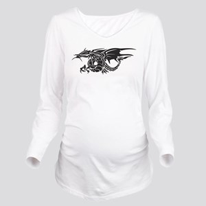 Tribal Winged Dragon Long Sleeve Maternity T-Shirt