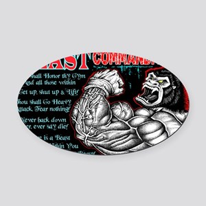 4-Commandments of the BEAST Oval Car Magnet