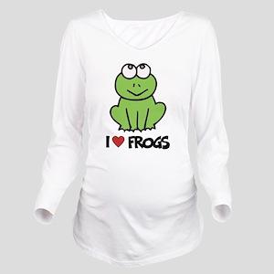I Love Frogs Long Sleeve Maternity T-Shirt