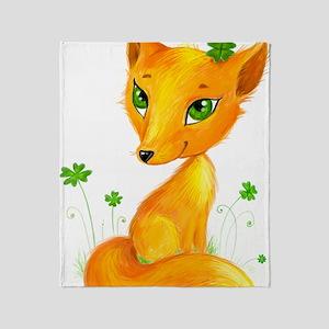 Fire fox in shamrocks Throw Blanket