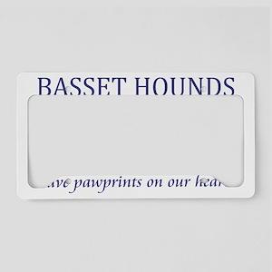 FIN-basset-hound-pawprints-CR License Plate Holder