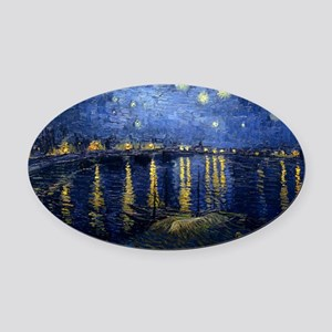 Starry Night Over the Rhone Oval Car Magnet