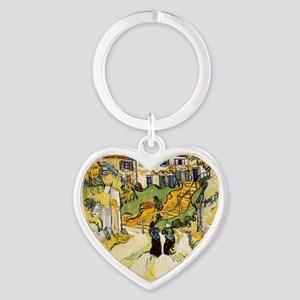 Stairway at Auvers Heart Keychain