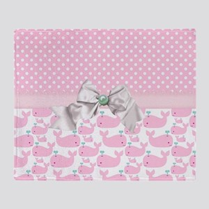 Baby Pink Whales  Throw Blanket