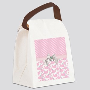 Baby Pink Whales  Canvas Lunch Bag