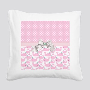 Baby Pink Whales  Square Canvas Pillow