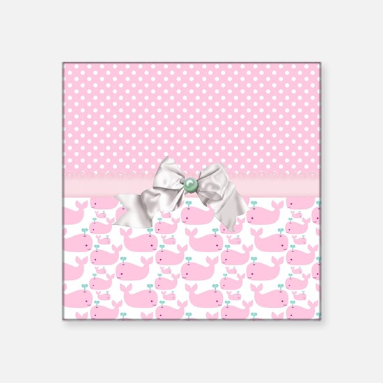 "Baby Pink Whales  Square Sticker 3"" x 3"""