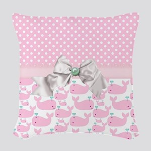 Baby Pink Whales  Woven Throw Pillow