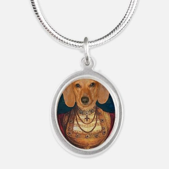 med evil lady tiger 16x16 fix Silver Oval Necklace