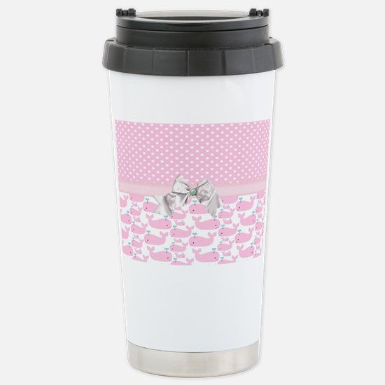 Cute Baby Pink Whales Stainless Steel Travel Mug