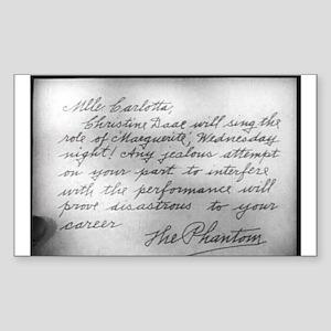 Phantom Note to Carlotta Rectangle Sticker