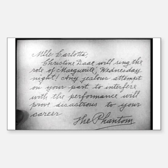 Phantom Note to Carlotta Rectangle Decal